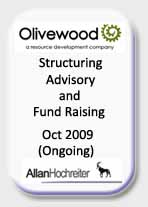 Olivewood Resources Structuring, Advisory and Fund Raising Tombstone