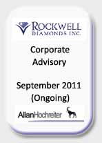 Rockwell Diamonds, Corporate Advisory, Sept 11 Ongoing